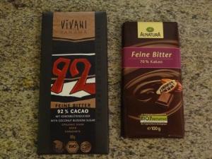 Bio-Schokolade mit 70% und 92% Kakaoanteil